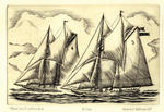 Elsie and Columbia drrypoint engraving renfered by Howie Hosenfeld who Marine Artist speciales in Scrimshaw and Scrimshaw copper plates,  drypoint engraving.